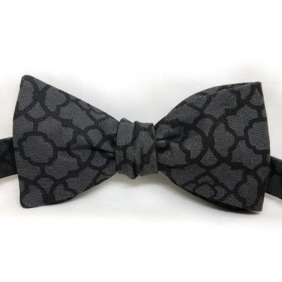 Black Abstract Floral Bow Tie