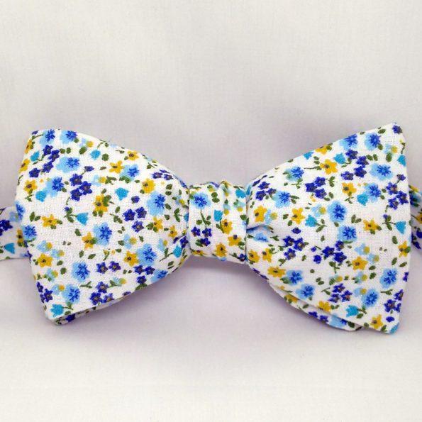 Blue Mini Floral Bow Tie