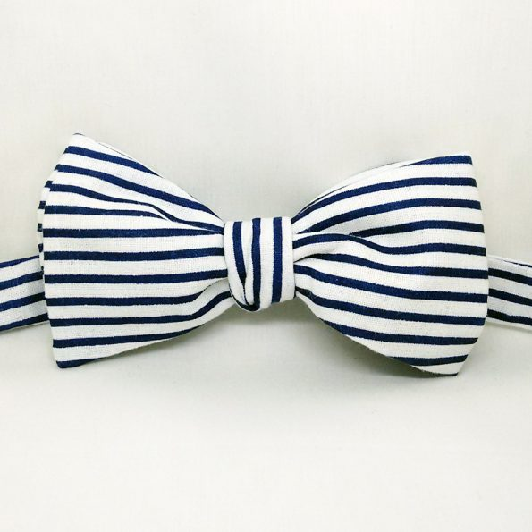Casual Blue Stripe Bow Tie