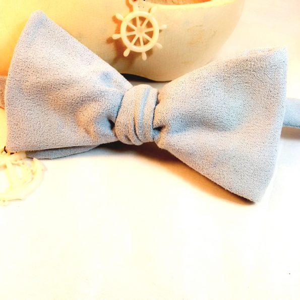 Blue Suede Bow Tie