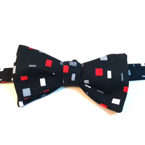 Abstract Square Print Bow Tie